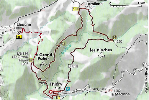 carte rando circuit Lieuche-Thiéry